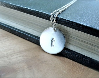 Initial T necklace Initial V Initial W necklace - Personalized hand stamped silver disc - Perfect gift idea Uppercase or lowercase