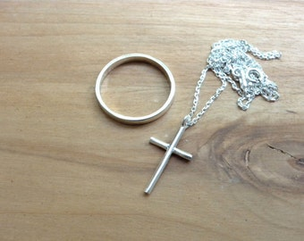 Tiny silver cross necklace - Skinny cross sterling silver necklace - Simple cross gift idea for her - birthday gifts
