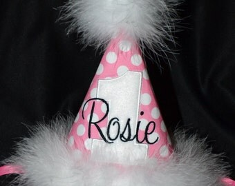Polka Dot 1st Birthday Party Hat Candy Pink-Black-and White-- With Maribou Trim or have me custom make a hat to match your party theme