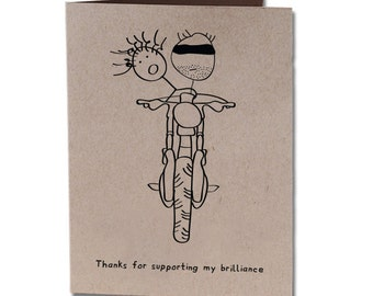 Thank You Humor Greeting Card Motorcycle