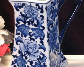 Vintage Seymour Mann Blue Onion China Mue Pitcher, 1980's Home Decor, Blue White Floral Pattern, Blue Onion Type Design, Made in Japan