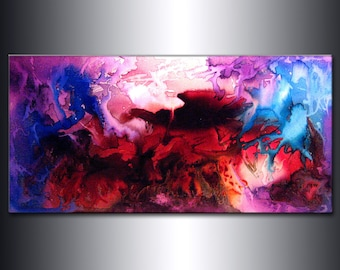 Contemporary ORIGINAL Abstract Modern Painting Large Fine Art Gallery Abstract Painting by Henry Parsinia Ready To Hang 48x24