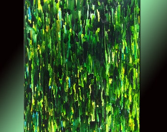 Green Abstract Painting Huge Contemporary Modern Canvas Art By New Wave Art Gallery 60x46