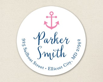 Pink Anchor Address Labels / Pink Nautical Address Labels - Sheet of 24