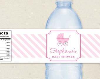 Baby Shower Water Labels - Baby Carriage in PINK or BLUE - 100% waterproof personalized water bottle labels