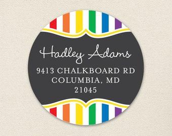 Chalkboard Rainbow Address Labels - Sheet of 24