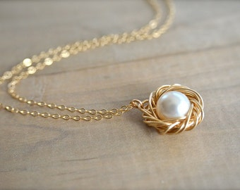 Birdnest Pendant - 1 Pearl Wrapped in 14K Gold Filled Wire -  mom, mother, kids, children, grandmother, Mother's Day