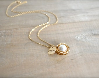 Mom's Birdnest Pendant - 1 Pearl Wrapped in Gold - White or Cream Pearl - mom, mother, grandmother, kids, children, Mother's Day