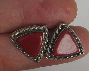 SALE Vintage Sterling Red Triangle  Post Earrings