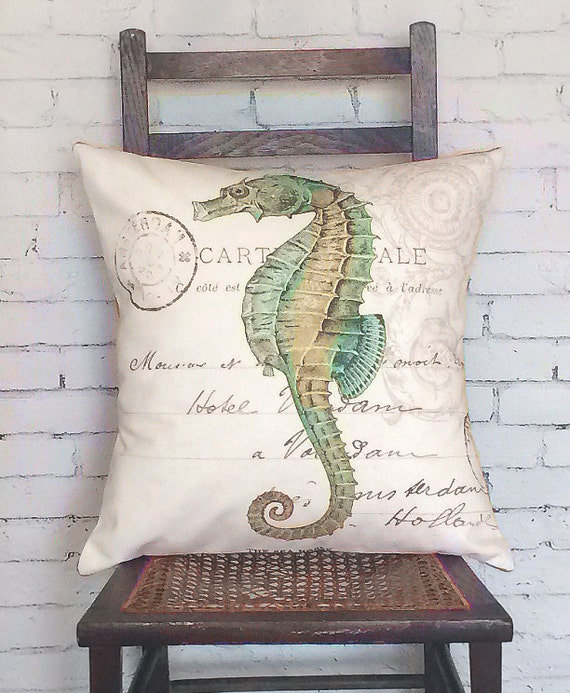 Pillow Cover Green Seahorse Beach Decor