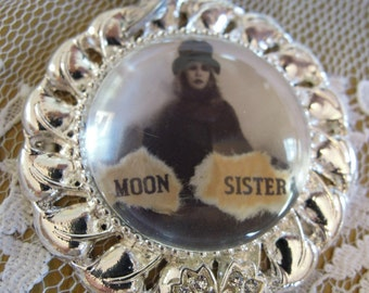 MOON SISTER, Silver Pendant, Stevie Nicks, in crystal ball glass tile pendant, bird charm, Gypsy, Wiccan, Boho, Goddess, Rebel, WItch