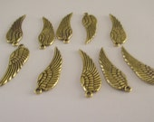 Wing Pendant Charms Gold Plate 10 piece set Component Destash