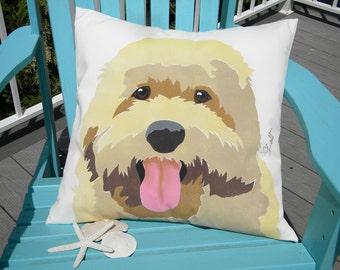 "Dog pillow GOLDENDOODLE 20"" Labradoodle outdoor dog pet canine blond apricot platinum retriever poodle nonallergenic Crabby Chris Original"