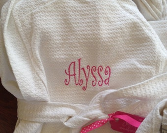Child Kids Embroidered Monogram Bath Robe Hooded Waffle Weave 100% Cotton