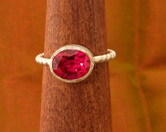 Oval Ruby Argentium Braided Shank Stacking Ring, July Birthstone Rong, Silver Ruby Ring
