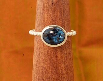 Oval Bezel set Blue Zircon Argentium Braided Shank Stacking Ring