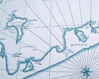 Montauk, East Hampton NY, Letterpress Printed Map