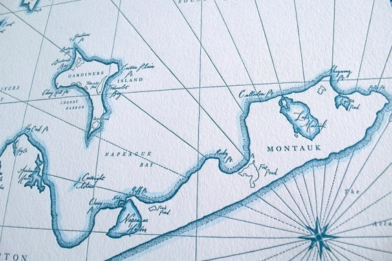 Montauk, East Hampton NY, Letterpress Printed Map