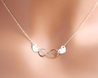 Infinity Necklace, two hearts, His and Her Initials - Sterling Silver/Gold Filled , Couple of lovers , everyday wear, romantic birthday gift