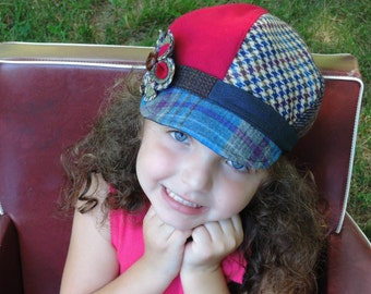 Newsboy Hat, Little Girls Newsboy Hat with flower, Girls winter hat, Kids Photo Prop, Recycled Mens Suit Coat, Vintage Hat, Girls photo Prop