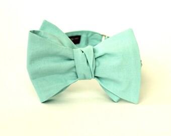Men's Bow Tie - Mint Green Solid Bowtie - Freestyle self tie - Adjustable