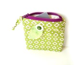 Change purse, zipper pouch, gift card holder, business card case, credit card case, wallet, lime green violet, back to school, gift for her