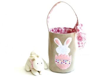 Easter basket bag, bunny appliqued, egg hunt bag, childrens Spring tote bucket bag, pink Easter tote bag, small bag, toddler bag