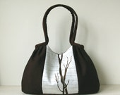 Dark Chocolate White Pleated Bag / Purse / Shoulder bag / Handbag MARION STYLE One-of-a-kind