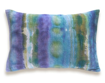 Aqua Blue Puple Olive Mustard Beige Decorative Lumbar Pillow Cover 12x18 inch Natural Linen One Of A Kind