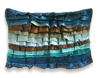 Rust Aqua Duck Egg Blue Teal Turquoise Bohemian Ruffle Pillow Case 12 x 18 in CARMEN DESIGN OOAK