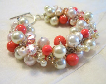 BRIDAL Pearl Bracelet, Persimmon, Salmon, Peach,  POPPY, Pink Coral, Ivory Cream , Limited Edition Color, Sereba Designs