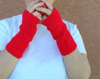 Red Fingerless Gloves - Crochet Fingerless Gloves, Wrist Warmers, Arm Warmers, Fingerless Mittens, Mitts - Ready To Ship
