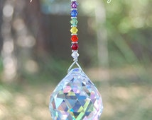 Rainbow Prism Crystal Suncatcher, 10 Prism Colors, Swarovski Rearview Mirror Decoration, Unique Window Hanging Crystal, Fan or Light Pull