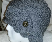 Custom Reserved for MaryAnn: Grey Rose and Bow Crochet Cloche Chapeau