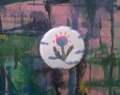 Pinback Button - Little One-Of-A-Kind Flower (original watercolor and ink monoprint painting, not a printed reproduction)