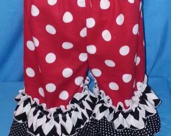 Custom Made Larger Size Minnie Mouse Double Ruffle Pantaloons