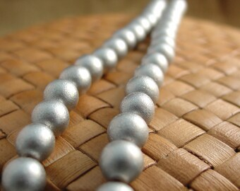 8 mm Round Wood Beads, Metallic Silver (15 inch strand)