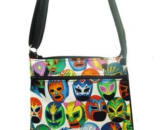 """USA handmade Cross Overbody bag """"MASCARAS De Pelea"""" Latino Pattern Shoulder Bag handbag Purse Alexander Henry Cotton Fabric, New, Raree,"""