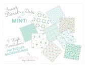 Floral & Dots PATTERNED BACKGROUND set in MINT for personal and commercial use - digital papers