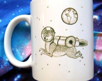 Shiba Inu Jet Pack Dog in Space with Earth Mug