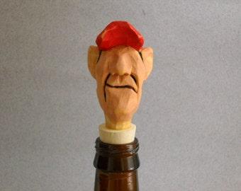 Carved wood bottle stopper
