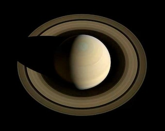 Ringed Planet Looking Down on Saturn Round Rings Shadows Nasa Space Age Art Photography Cassini Image Saturn's Rings Astronomy Photo Print