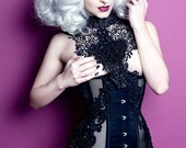 Steel boned mesh ribbon under bust corset with lace beading and appliqué detailing