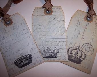 Vintage Crown Journaling Tags set of 6