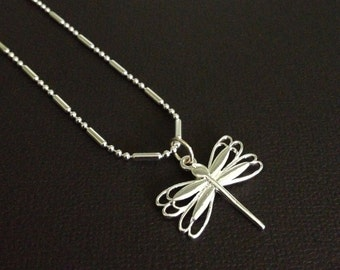 Sterling Silver Intricate Chain with Silver Dimensional Butterfly Charm Necklace 18 Inch GIFT for Her