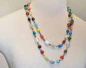 "Beaded NECKLACE - Long 24"" (48"") Multiple Primary Colors Blue Green Red Aqua Violet Seed Bead Glass Bead - Goes with Everything Necklace 32"
