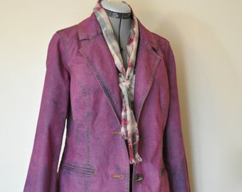 "Wine Medium Denim JACKET - Red Violet Hand Dyed Upcycled Unknown Denim Blazer Jacket - Adult Women's Size Small Medium (38"" chest)"