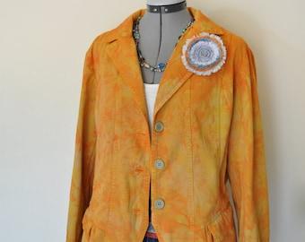 Orange XL Cotton Jacket - Yellow Orange Hand Dyed Upcycled Caribbean Joe Cotton Blazer Jacket - Adult Womens Size Extra Large (46 chest)