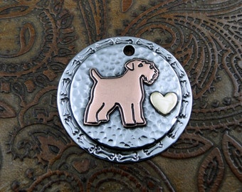 Wheaten Terrier Custom Dog ID Tag-Handmade Dog Collar Tag-Personalized Pet ID Tag-Wheaten Terrier Pendant