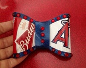 Large Angels Budweiser Can Metalflake Hair Bow Red Blue